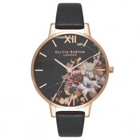 OB16CS01 Marble Floral Black & Rose Gold Leather Ladies Watch