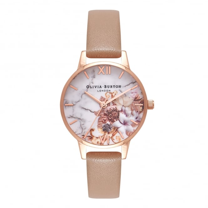 Olivia Burton OB16CS02 Marble Floral Sand & Rose Gold Leather Ladies Watch