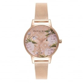 OB16DD06 Dot Design Rose Gold Mesh Ladies Watch