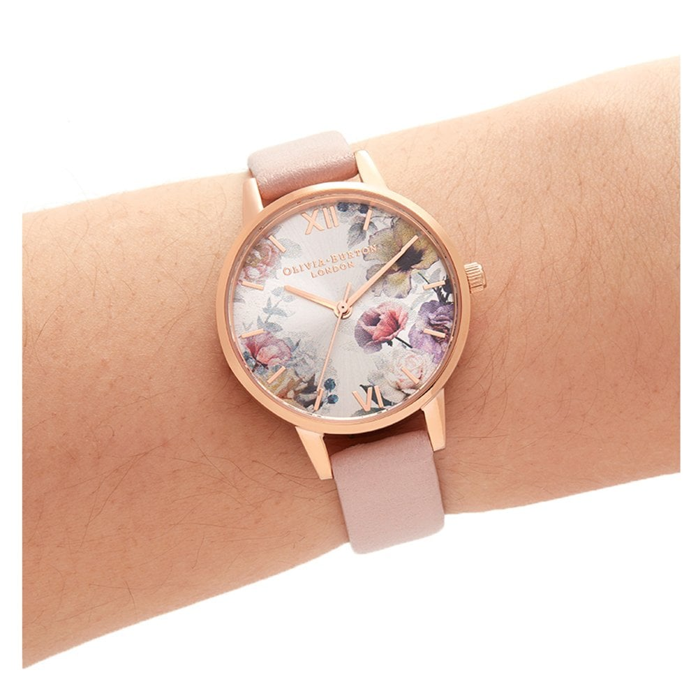 e8613c266 OB16EG115 Sunlight Florals Dusty Pink & Rose Gold Leather Ladies Watch