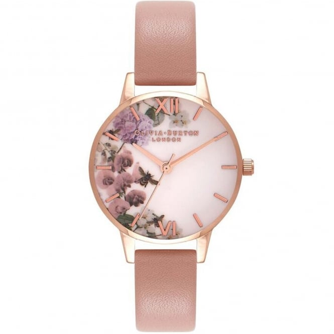 Olivia Burton OB16EG56 Enchanted Garden Dusty Pink & Rose Gold Leather Ladies Watch