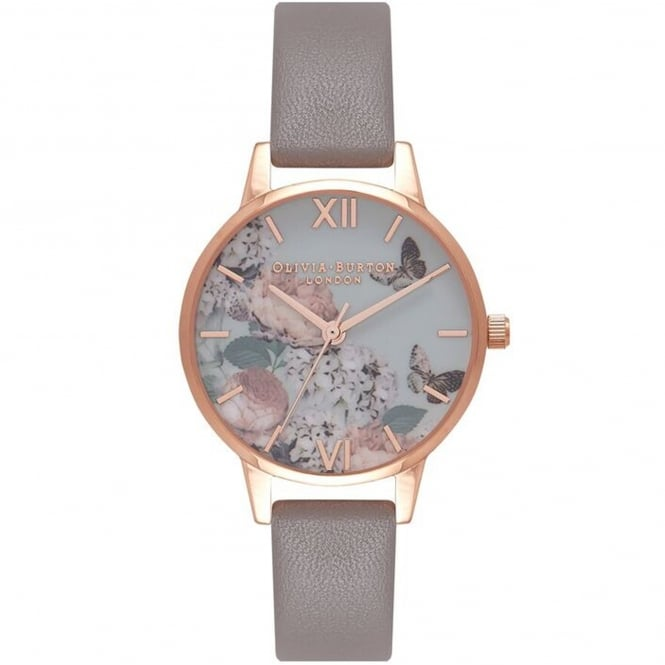 Olivia Burton OB16EG67 Midi Signature Floral London Grey & Rose Gold Leather Ladies Watch