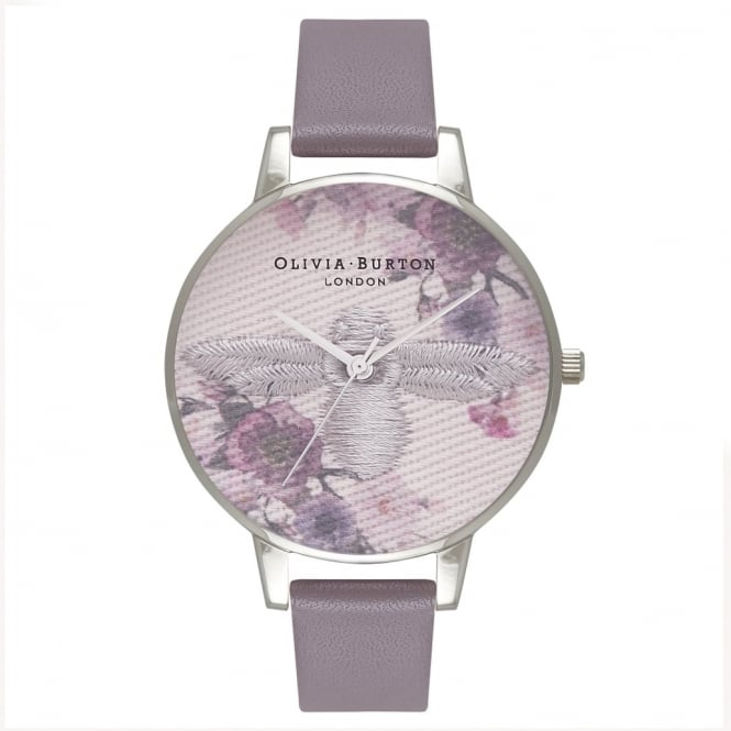 Olivia Burton OB16EM05 Embroidered Dial London Grey & Silver Leather Watch