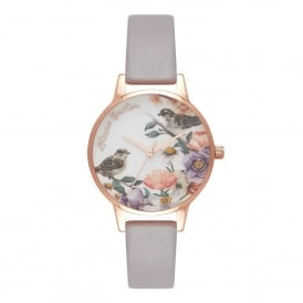 OB16ER13 English Garden Grey Lilac & Rose Gold Leather Ladies Watch