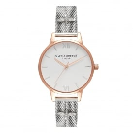 OB16ES04 Midi 3D Bee Embellished Strap Rose Gold & Silver Mesh Ladies Watch