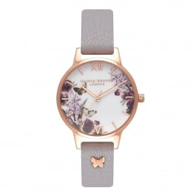OB16ES05 Enchanted Garden 3D Butterfly Embellished Strap Grey Lilac & Rose Gold Leather Ladies Watch