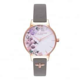 OB16ES06 Enchanted Garden 3D Bee Embellished Strap London Grey & Rose Gold Leather Ladies Watch