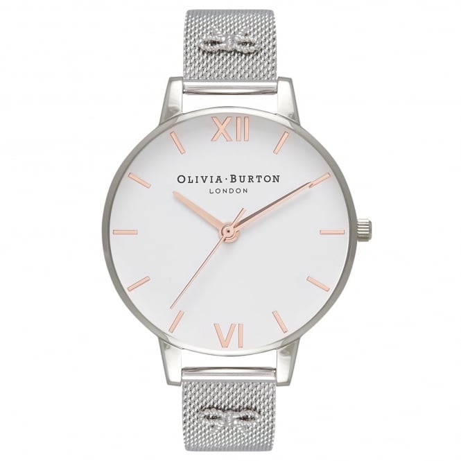 Olivia Burton OB16ES10 3D Vintage Bow Embellished Strap Rose Gold & Silver Mesh Ladies Watch