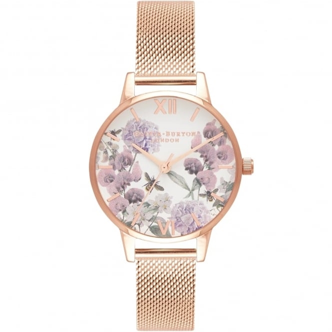 Olivia Burton OB16EX90 Midi Enchanted Garden Bee Blooms Rose Gold Mesh Ladies Watch