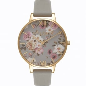 OB16FS81 Flower Show Big Dial Grey & Gold Leather Ladies Watch