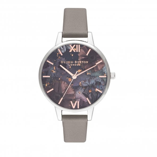 f33daf2ec OB16GD26 Celestial Floral Demi Dial Silver, Rose Gold & Grey Leather  Ladies Watch