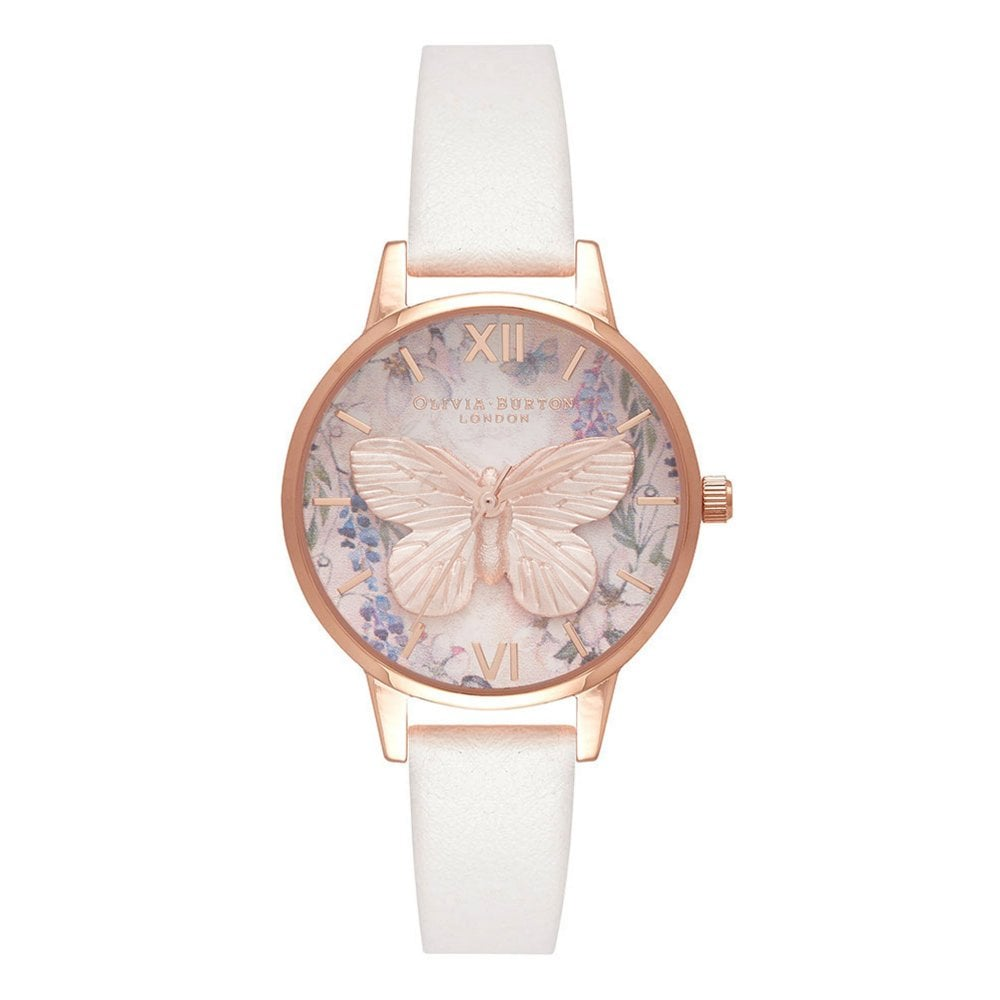 d80256827475 OB16GH07 Glasshouse 3D Butterfly Vegan Blush  amp  Rose Gold Ladies Watch
