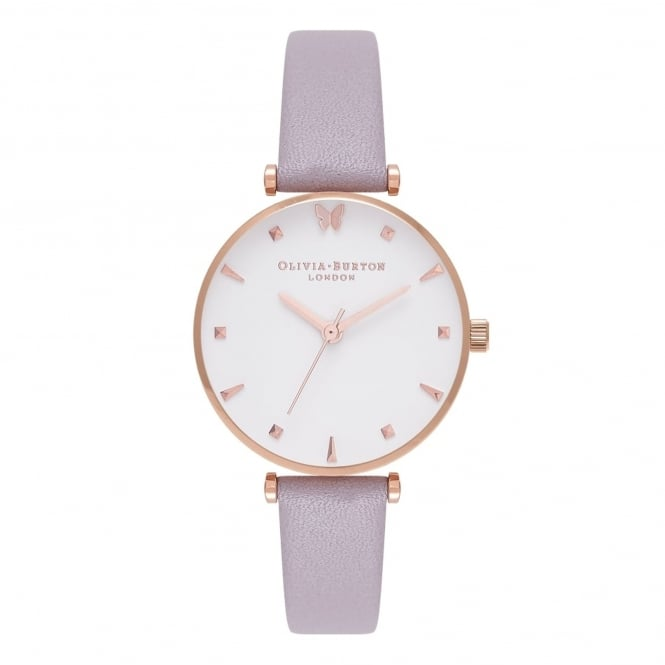 Olivia Burton OB16MB13 Social Butterfly Grey Lilac & Rose Gold Leather Ladies Watch