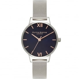 OB16MD71 Midi Dial Navy Dial & Silver Mesh Ladies Watch