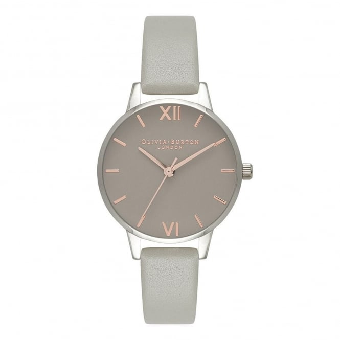 Olivia Burton OB16MD79 Midi Grey Dial, Rose Gold & Silver Leather Ladies Watch
