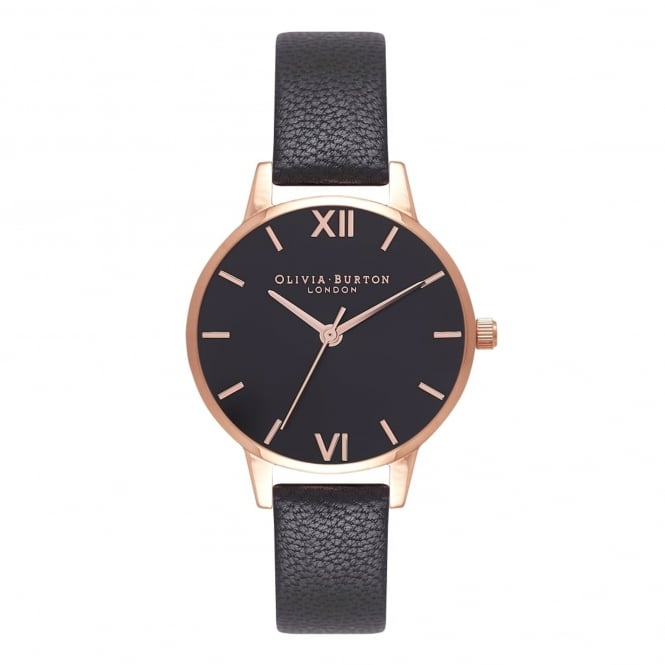 Olivia Burton OB16MD83 Black Sunray Dial Black & Rose Gold Leather Ladies Watch