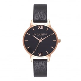 OB16MD83 Black Sunray Dial Black & Rose Gold Leather Ladies Watch