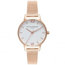 Olivia Burton OB16MDW01 Midi White Dial Rose Gold Mesh Ladies Watch