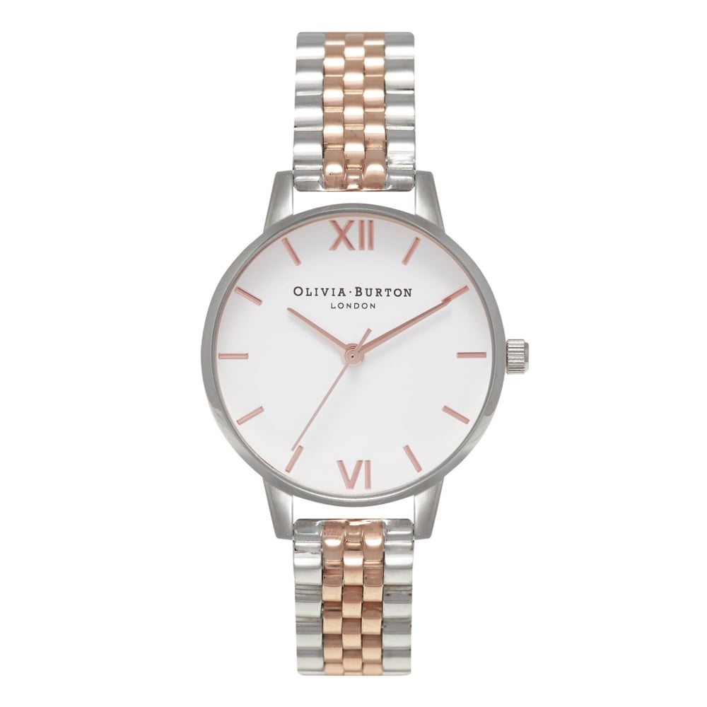 OB16MDW25 Midi White Dial Rose Gold  amp  Silver Bracelet Ladies Watch 00b1f961e2