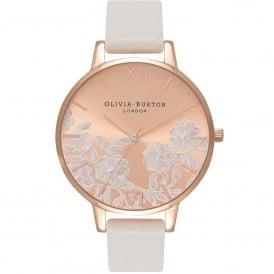 OB16MV53 Lace Detail Blush & Rose Gold Leather Ladies Watch