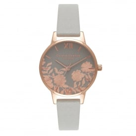 OB16MV58 Lace Detail Rose Gold & Grey Leather Ladies Watch