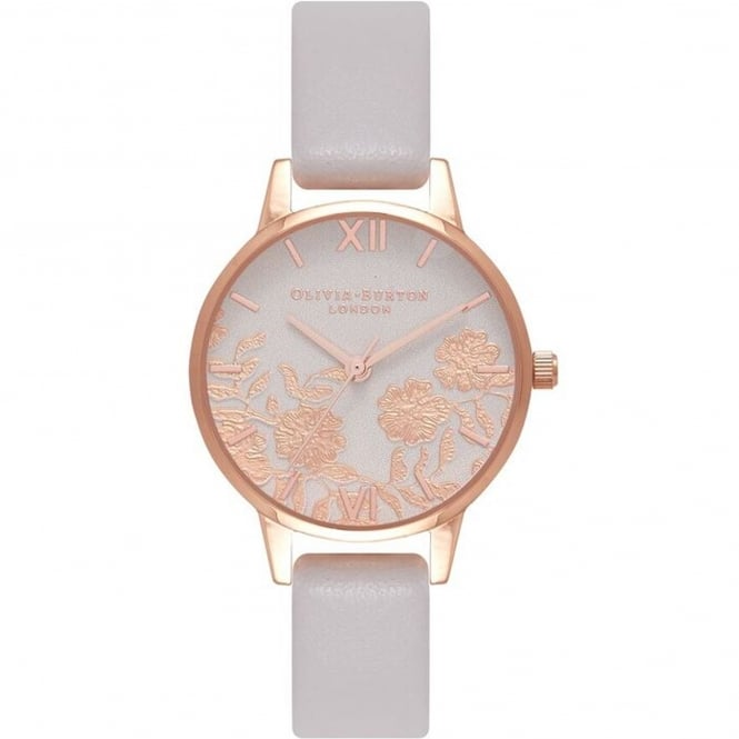 Olivia Burton OB16MV69 Midi Lace Detail Blush & Rose Gold Leather Ladies Watch