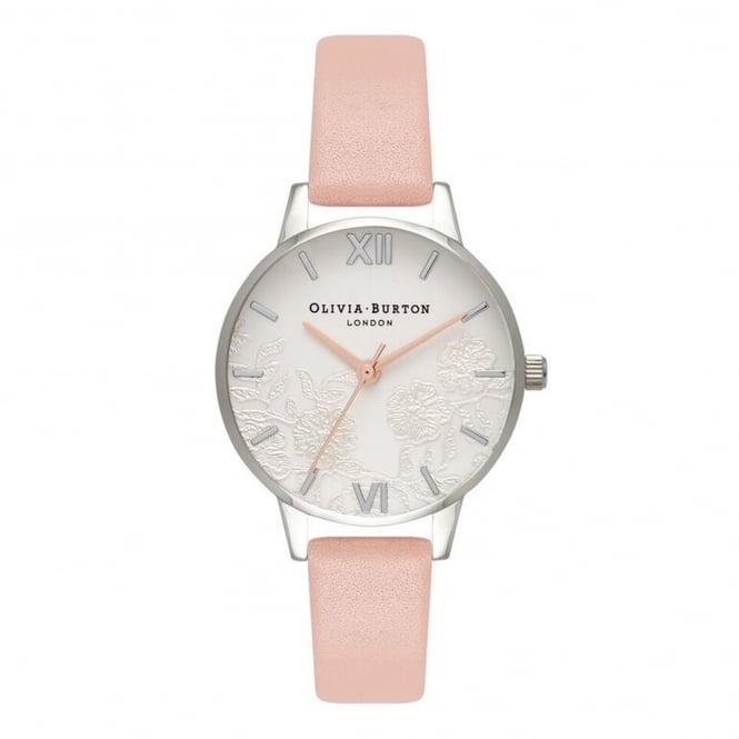 Olivia Burton OB16MV70 Midi Lace Detail Dusty Pink, Silver & Rose Gold Leather Ladies Watch