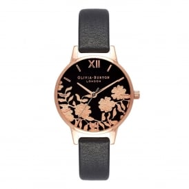 OB16MV75 Lace Detail Black & Rose Gold Leather Ladies Watch