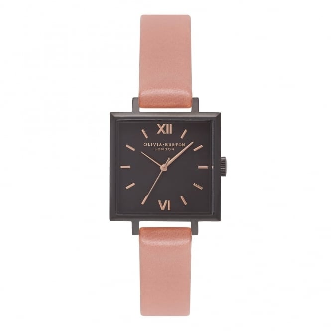 Olivia Burton OB16SS08 Midi Square Dial Rose, Matte Black & Rose Gold Leather Ladies Watch