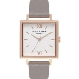 OB16SS21 Big Square Dial London Grey & Rose Gold Leather Ladies Watch
