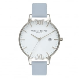 OB16TL09 Timeless Chalk Blue & Silver Leather Ladies Watch