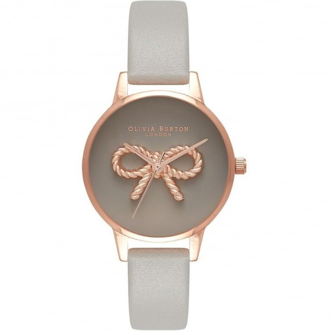 Olivia Burton OB16VB04 3D Vintage Bow Grey & Rose Gold Leather Ladies Watch
