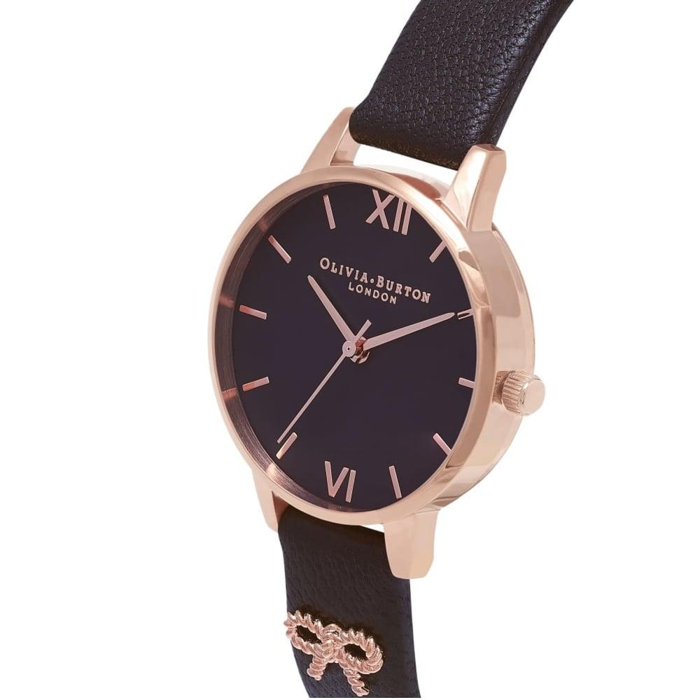 825afe160b2 OB16VB07 Midi 3D Vintage Bow Embellished Strap Black & Rose Gold  Leather Ladies Watch