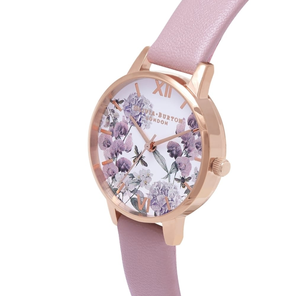 ff27df2c635e OB16VE08 Vegan Friendly Enchanted Garden Rose Sand & Rose Gold  Synthetic Leather Ladies Watch