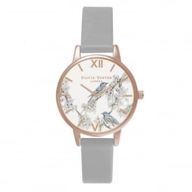 OB16WL64 Woodland Blossom Birds Grey & Rose Gold Leather Ladies Watch