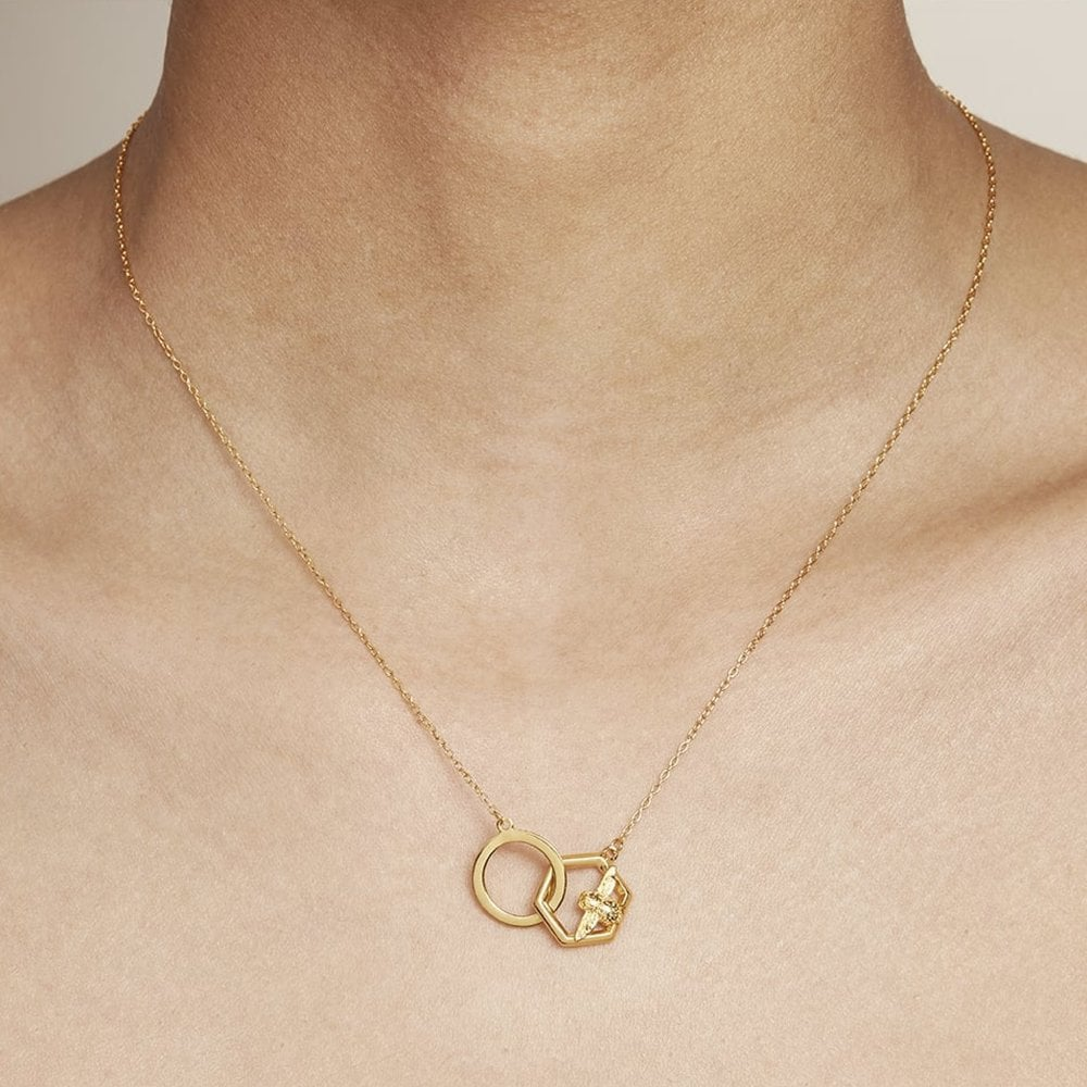 e5b6cf29330d Olivia Burton OBJ16AMN20 Honeycomb Bee Necklace available at Tic Watches