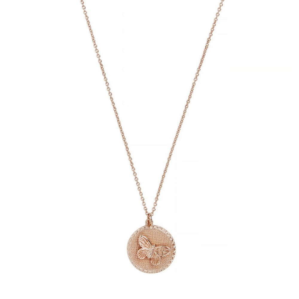 54bb21e2aa1c Olivia Burton Jewellery OBJ16MBN02 Butterfly Coin Necklace Rose Gold