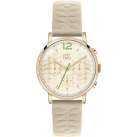 Orla Kiely OK2000 Frankie Nude Leather Chronograph Ladies Watch