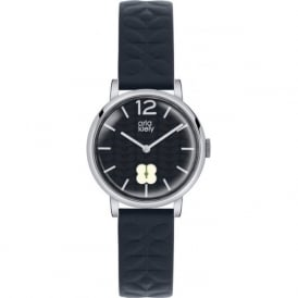 Orla Kiely OK2005 Frankie Silver & Navy Blue Leather Ladies Watch