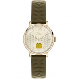 Orla Kiely OK2006 Frankie Gold & Green Leather Ladies Watch