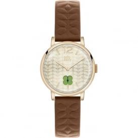 Orla Kiely OK2008 Frankie Gold & Brown Leather Ladies Watch