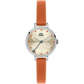Orla Kiely OK2013 Ivy Silver & Orange Leather Ladies Watch