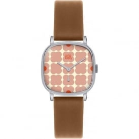 Orla Kiely OK2023 Cecelia Pink Flowery Tan Leather Ladies Watch