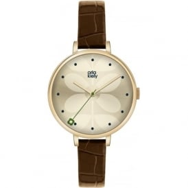 Orla Kiely OK2030 Ivy Gold & Brown Leather Ladies Watch