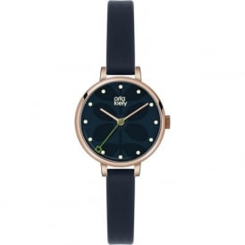 Orla Kiely OK2036 Ivy Rose Gold & Navy Blue Leather Ladies Watch