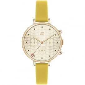 Orla Kiely OK2038 Ivy Rose Gold & Yellow Leather Ladies Watch