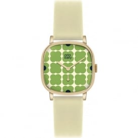 Orla Kiely OK2058 Cecelia Green Floral Cream Leather Ladies Watch