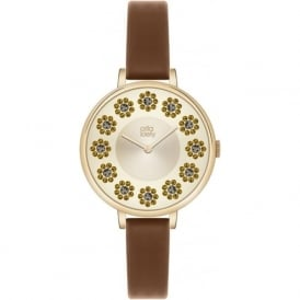 Orla Kiely OK2084 Ivy Stones Brown Leather Ladies Watch