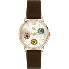 Orla Kiely OK2088 Betty Dark Brown Leather Ladies Watch