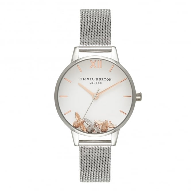 Olivia Burton OB16CH02 Busy Bees Rose Gold & Silver Mesh Ladies Watch